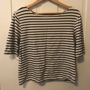 Vintage wide boat neck 3/4 sleeve striped shirt